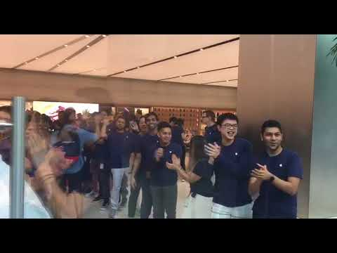 Apple Orchard Road staff cheering as customers enter store
