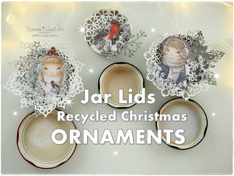 DIY Jar Lids Recycled Christmas Ornaments ♡ Maremi's Small Art ♡