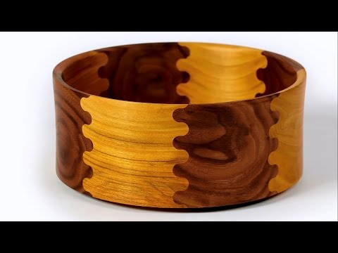 Woodworking Bowl | Wood Turned Finger Jointed Bowl