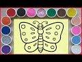 Đồ chơi trẻ em, TÔ MÀU TRANH CÁT CON BƯƠM BƯỚM BAY - Sand painting butterfly toys (Chim Xinh)