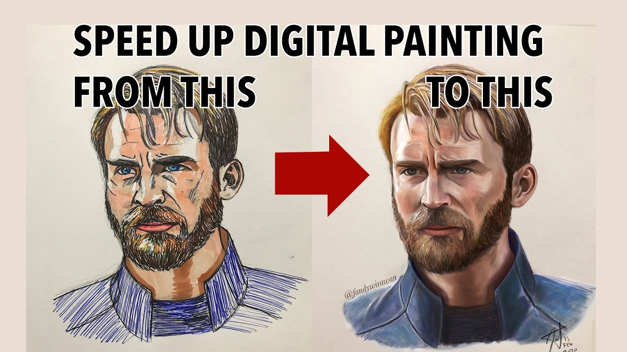 Digital Painting Potrait of Steve Rogers Captain America (Chris Evans) With Beard