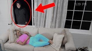 HIDDEN CAMERA shows STALKER LOOKING in my GIRLFRIENDS WINDOW (he was spying on her)