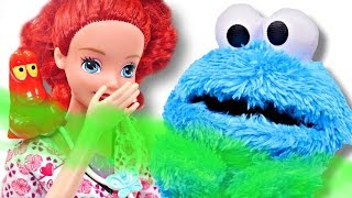 Cookie Monster visits Dr. Ariel with Stinky Gas | Disney Princess & Sesame Street Episodes with DCTC