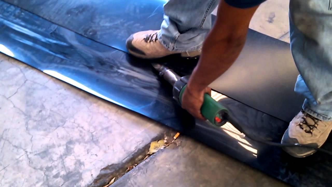 Punteado de geomembrana con pistola de aire doovi for Estanque polietileno