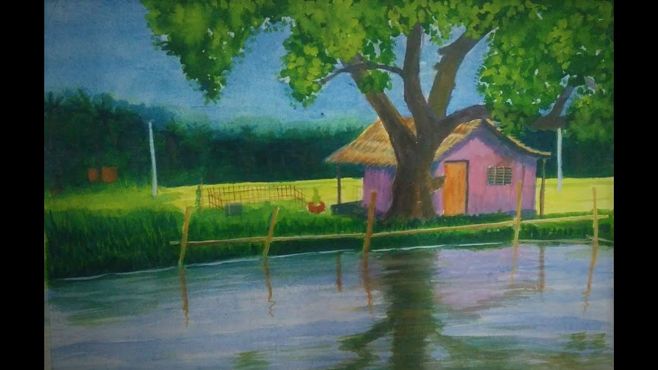 Watercolor painting Video demo of Village Farm house, lake and Farm field