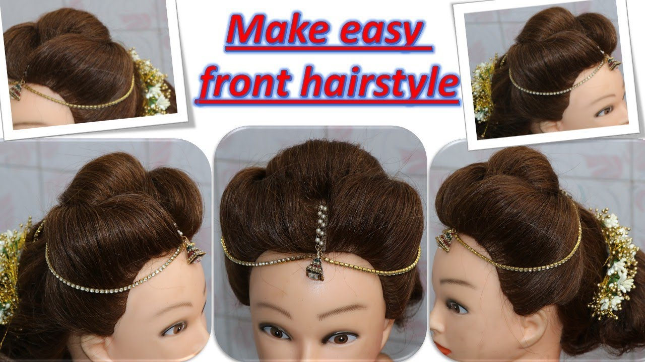 DIY - easy front hairstyle - with mang tikka and hair accessories - step by step tutorial - YouTube
