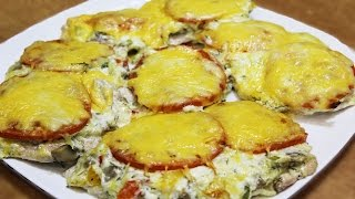 Куриная отбивная с овощами и сыром