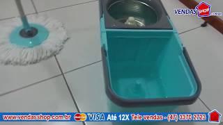 BALDE MOP PREMIUM CESTO INOX CENTRIFUGADOR COM 2 REFIL ESFREGÃO - www.vendasshop.com.br