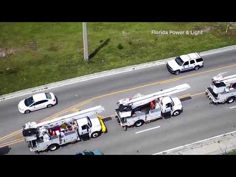 Florida Power and Light deploys trucks to help restore power to customers affected by Hurricane Irma