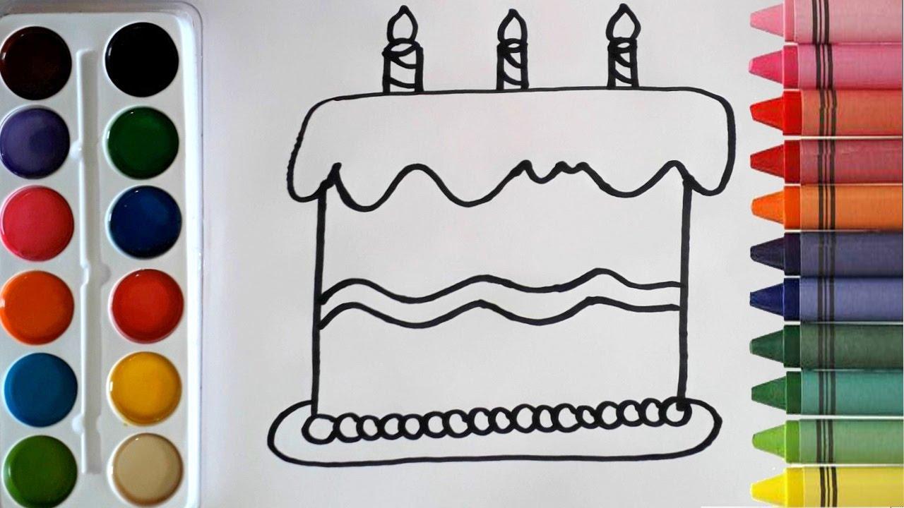 Dibuja Y Colorea Torta De Cumpleaños: Como Dibujar Y Colorear Una Torta De Cumpleaños De