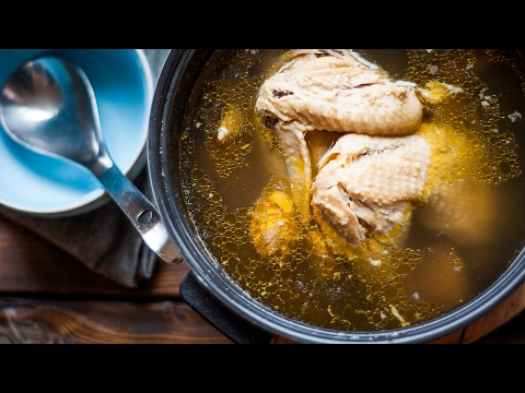 Slow Cooker Recipe Chicken Soup | Chicken Stock With Shiitake Mushrooms And Ginger