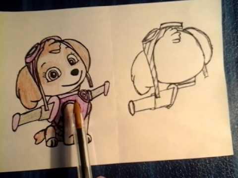Как нарисовать скай из щенячий патруль