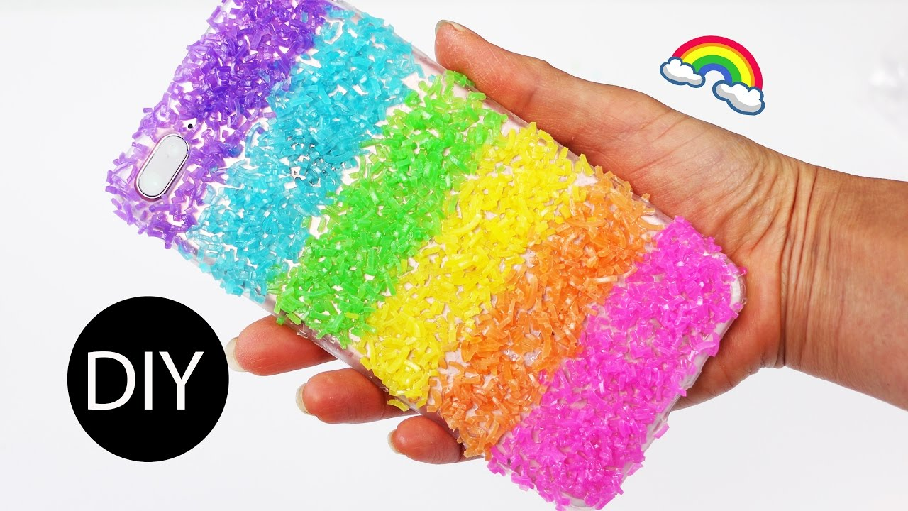 new concept 0c65c 75c78 5-minute Crafts: Rainbow/Dragon Scale Phone Case/What to Do With Leaf-over  Loom Bands