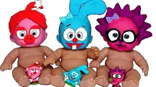 Куклы Пупсики СТАЛИ СМЕШАРИКИ Лепим МАСКИ из пластилина Плей До Пупсики в МАСКАХ Игры для девочек
