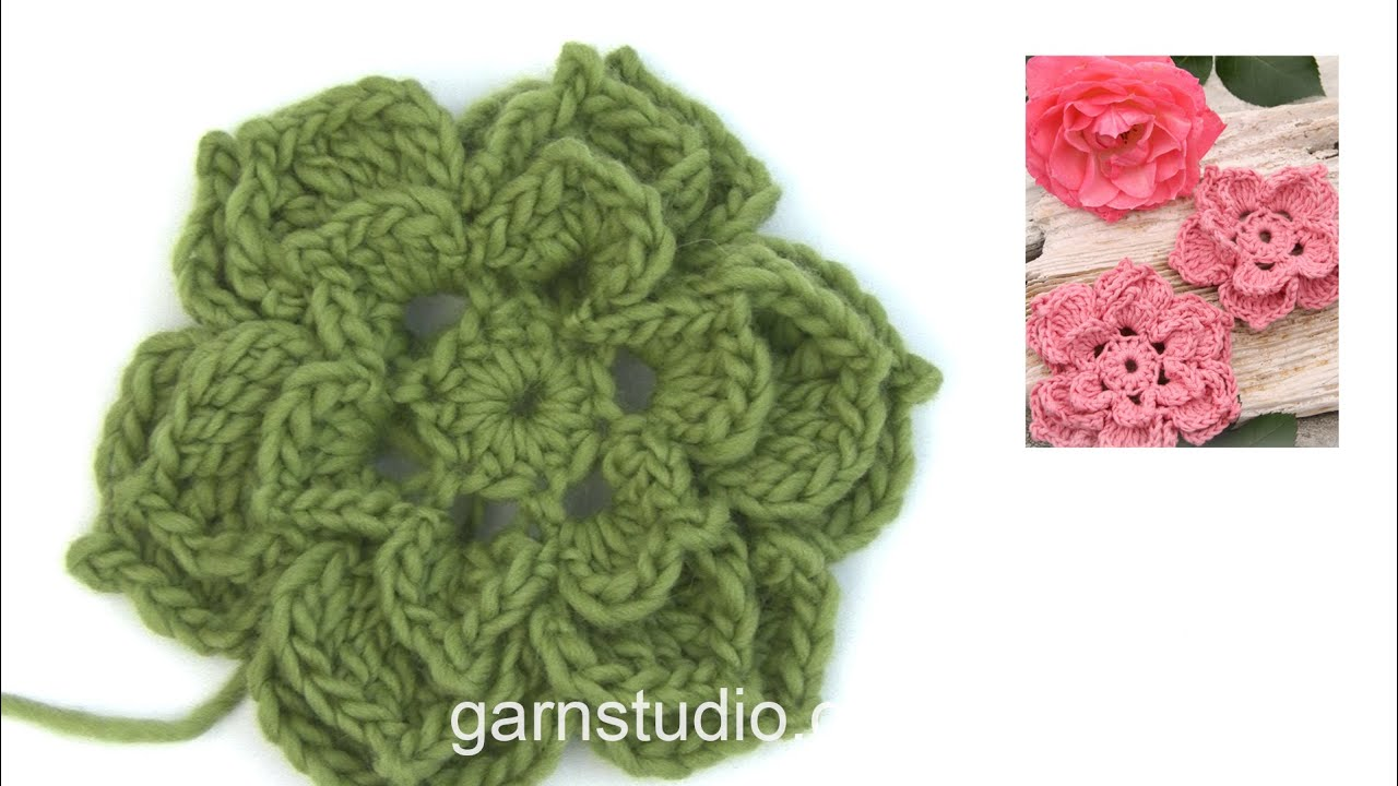 How To Crochet The Large Rose In Drops 147 45 Youtube