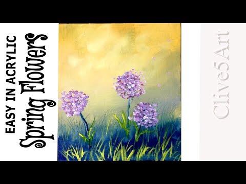 Easy Beginner Acrylic Painting Tutorial Spring Flowers