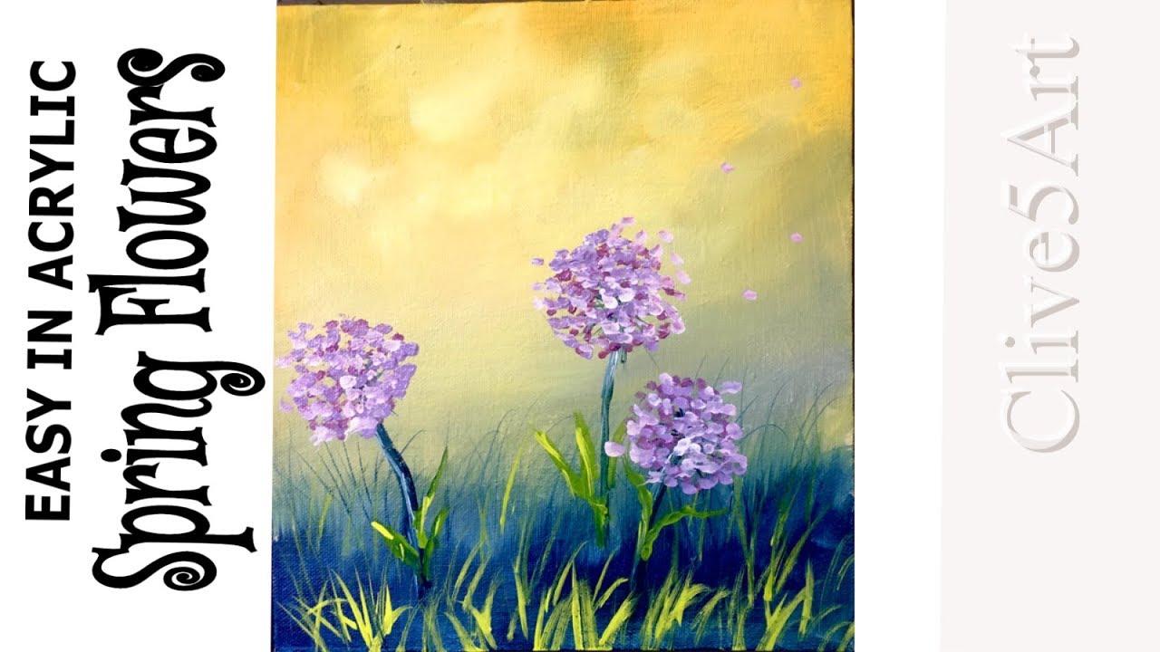 Easy Beginner Acrylic Painting Tutorial Spring Flowers ...