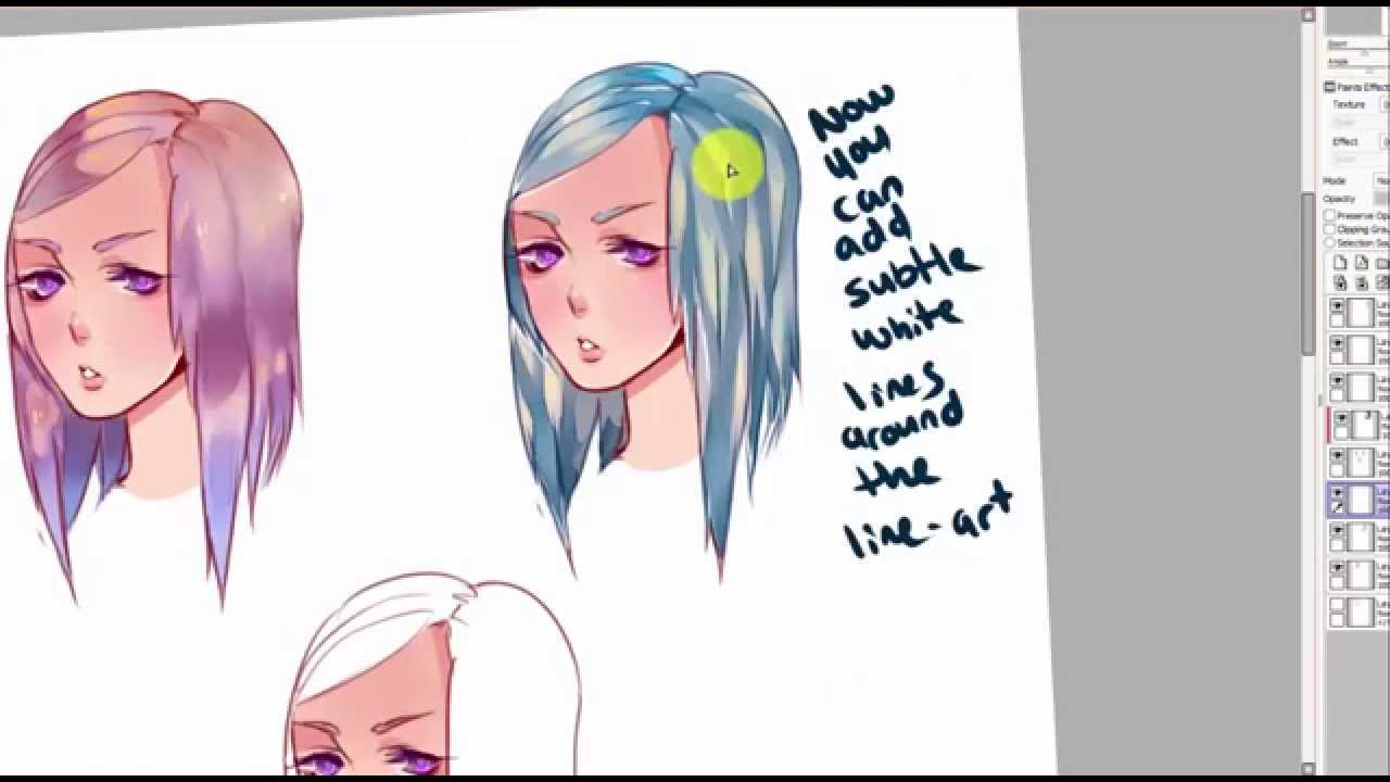 Hair Coloring Tutorial- 3 Different Ways to Color- PAINT TOOL SAI ...