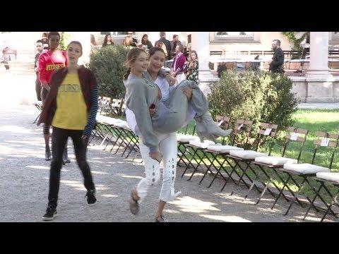EXCLUSIVE - Bella Hadid and Gigi Hadid have a blast while rehearsing for the Alberta Ferretti Fashio
