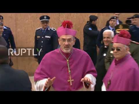 State of Palestine: Patriarch of Jerusalem arrives at Church of the Nativity