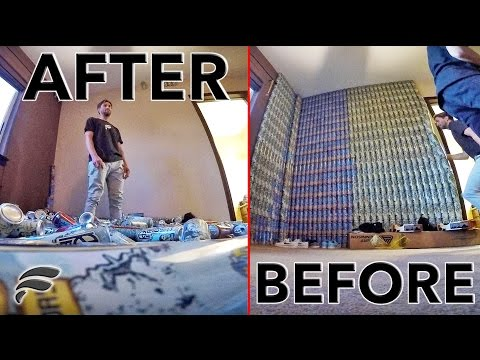 KNOCKING DOWN BROTHERS 700 CAN WALL! *PRANK*