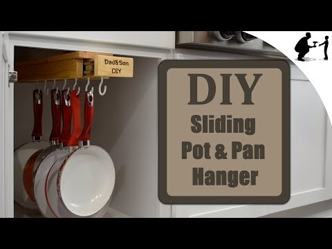 DIY: Hidden Pullout Wooden Pot and Pan Hanger