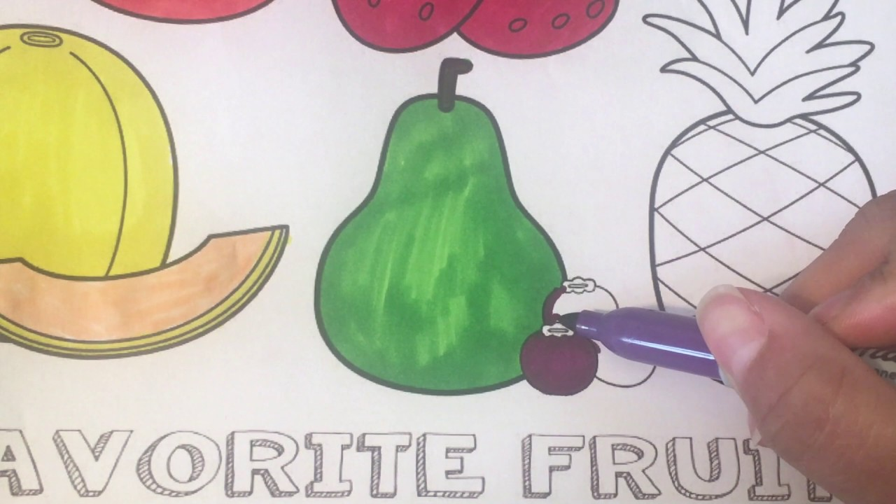 fruits and vegetables color learning pages for kids youtube