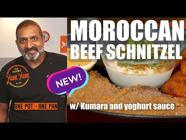 MOROCCAN Beef Schnitzel! w/ Spiced Kumara & yoghurt sauce. Feed 4 for under $20! ONE POT - ONE PAN