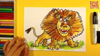 How to draw a lion Alex from Madagascar