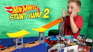 Hot Wheels Stunt Jump Tournament Pt 2 ft Marvel Super Hero Cars!