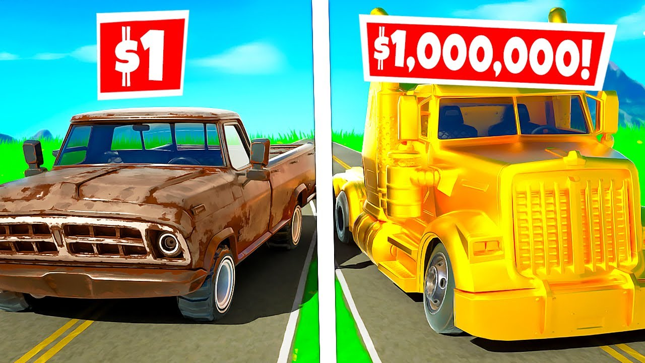 $1 TRUCK vs. $1,000,000 TRUCK?! (Fortnite Challenge)