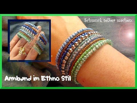 Schmuck selber machen  Schmuck selber machen: Armband im Ethno Stil - YouTube