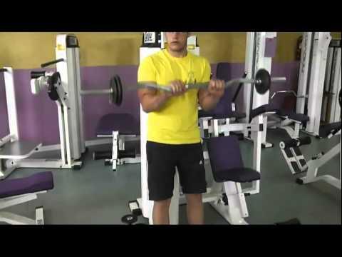Curl de biceps con barra descripcion