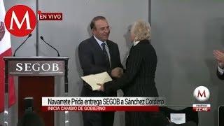 Navarrete Prida entrega SEGOB a Sánchez Cordero