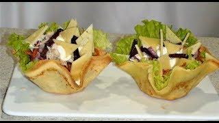 Салат на новый год. Вкуснейший салат. Пальчики оближешь. Салат в съедобной посуде