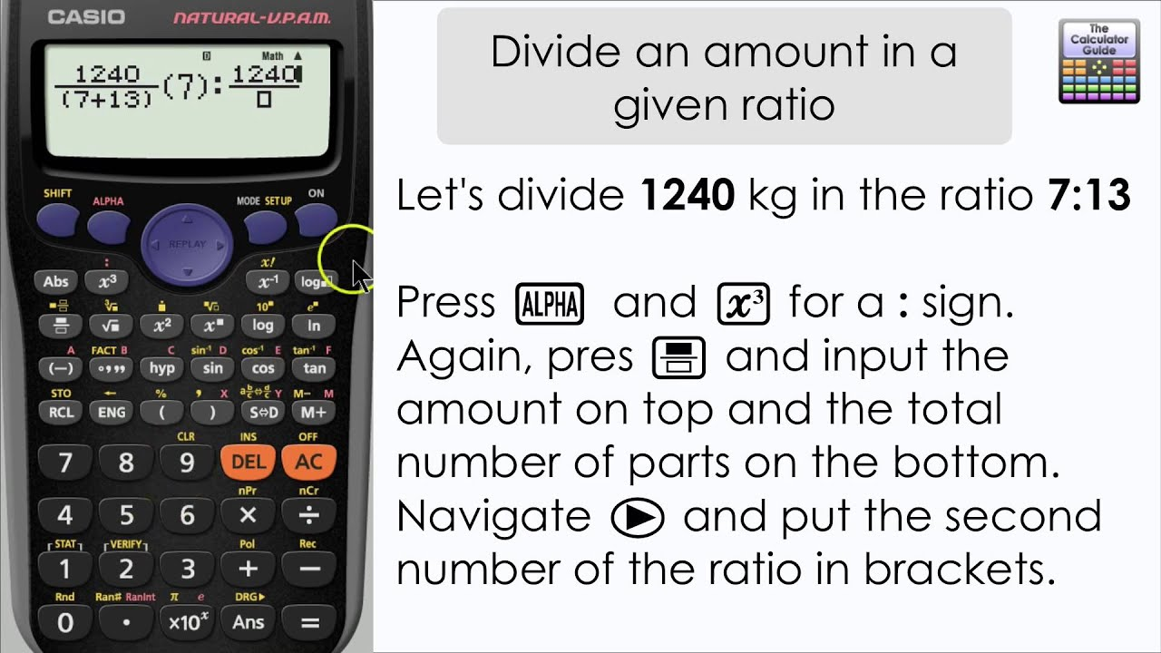 How To Divide An Amount By A Given Ratio Casio Calculator Fx 83gt Plus 85gt