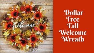 Fall Crafts: Dollar Tree Fall Welcome Wreath