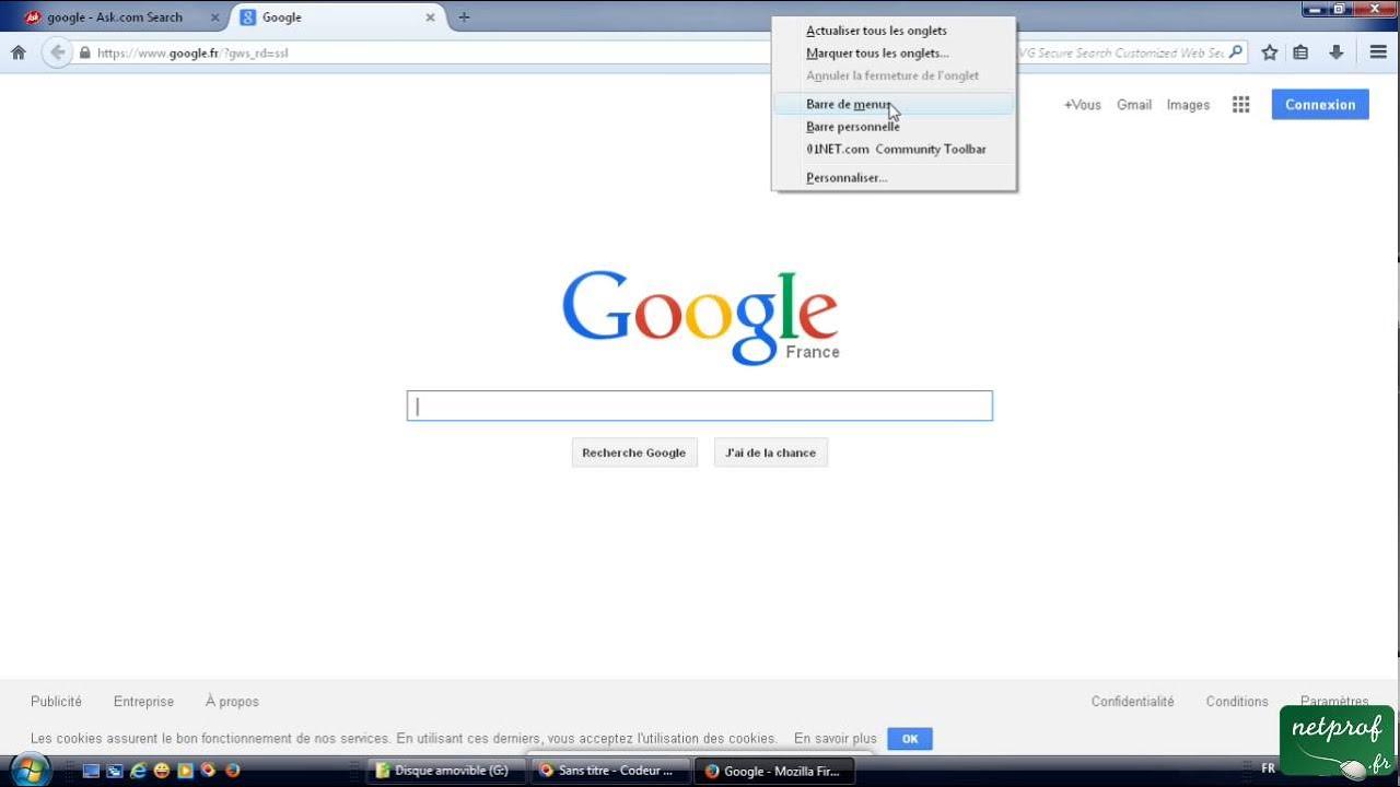 5 - Afficher les menus dans Mozilla Firefox