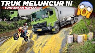 Download Situasi Berubah Jadi Panik, Detik Detik Truk Meluncur Tumpahkan Minyak di Sitinjau Lauik