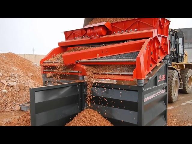 XAVA Rüttelsieb LS28 Ziegel Dekosplitt sieben / Screening of Bricks Deco Chips