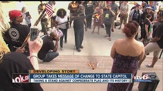 Hoosiers burn Confederate flags on Capitol steps
