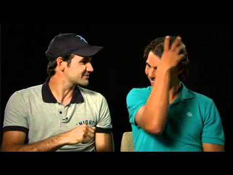 Roger Federer and Rafa Nadal can't stop laughing at the tv spot. funny!