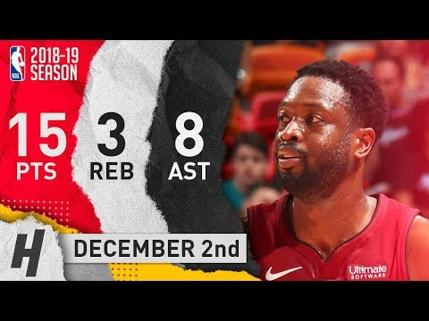Dwyane Wade Full Highlights Heat vs Jazz 2018.12.02 - 15 Pts, 8 Ast, 3 Rebounds!