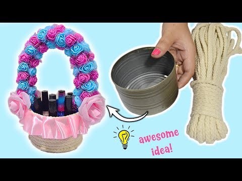 How to make beautiful basket from tin can recycle idea Best reuse idea using tin can and rope