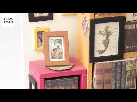 Wooden DIY Library Room with Furniture Dollhouse