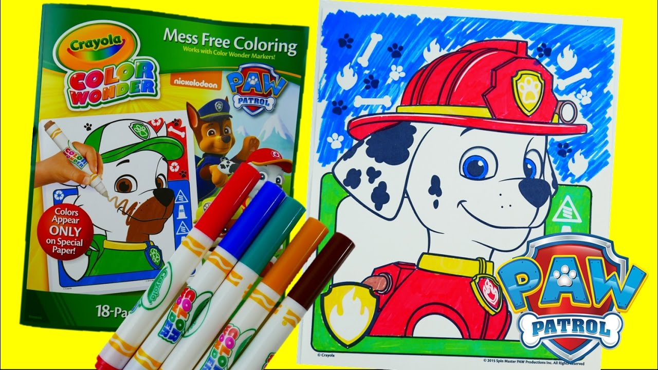coloring marshall new paw patrol coloring book crayola color wonder episode evies toy house youtube - Color Wonder Coloring Books