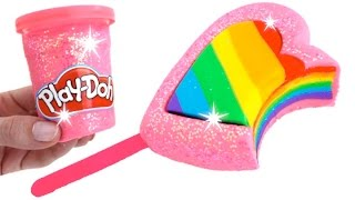 DIY How to Make Play Doh Rainbow Ice Cream Popsicle Fun & Creative for Kids * RainbowLearning