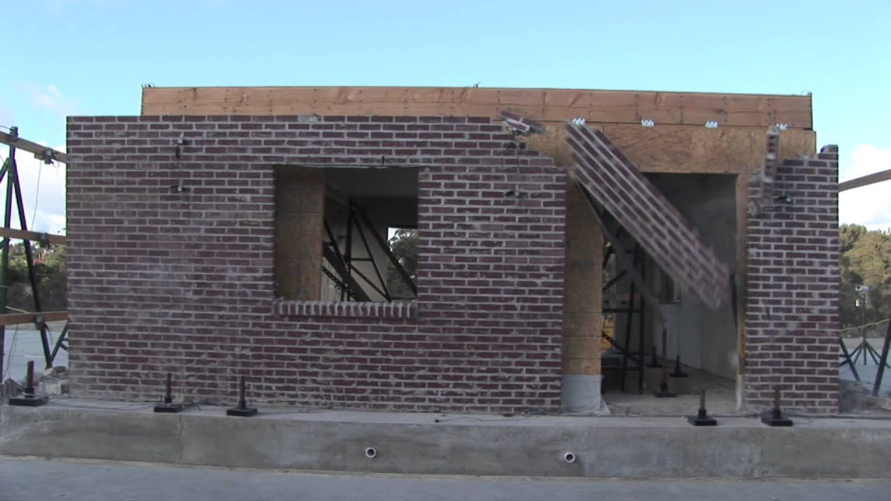 NEES UCSD One story Masonry House Sylmar 200p 2 Spec1 - YouTube