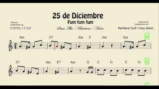 25 de Diciembre Partitura de Saxo Alto, Baritono Sax y Corno o Troma en mi bemol Fum Fum Fum Villanc
