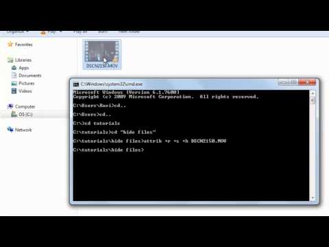 How to hide files/folder in windows with CMD/DOS or command prompt